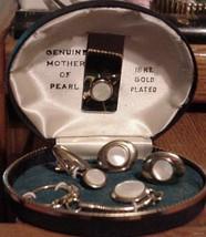 5 Pc Set Genuine Mother Pearl 18 KT GP Money clip cufflinks keychain Tie clip image 1