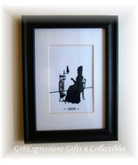 Primitive Woman Spinning Wheel 5x7 Silhouette Picture New - $11.95