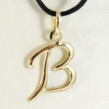 18K YELLOW GOLD PENDANT CHARM INITIAL LETTER B, MADE IN ITALY 0.9 INCHES, 22 MM image 1