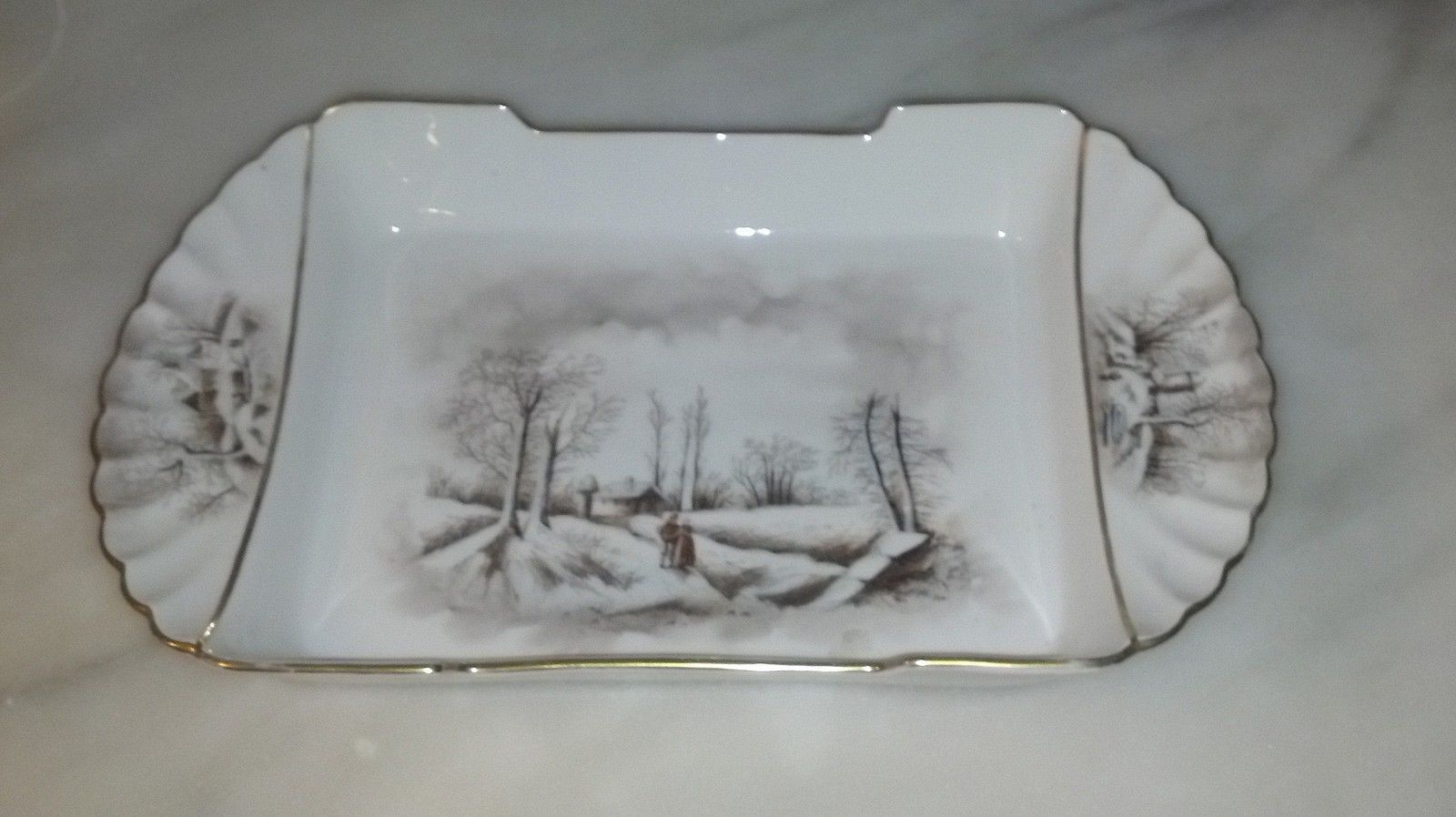 Theodore Haviland Red TH Sawtooth Mark Winter Landscape Limoges Platter