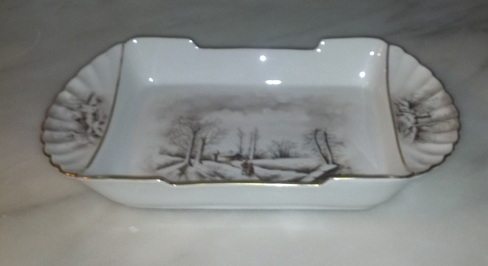 Theodore Haviland Red TH Sawtooth Mark Winter Landscape Limoges Platter image 2