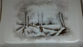 Theodore Haviland Red TH Sawtooth Mark Winter Landscape Limoges Platter image 3