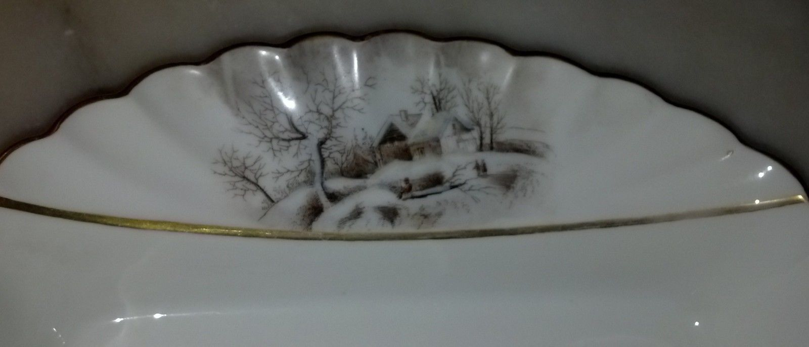 Theodore Haviland Red TH Sawtooth Mark Winter Landscape Limoges Platter image 4