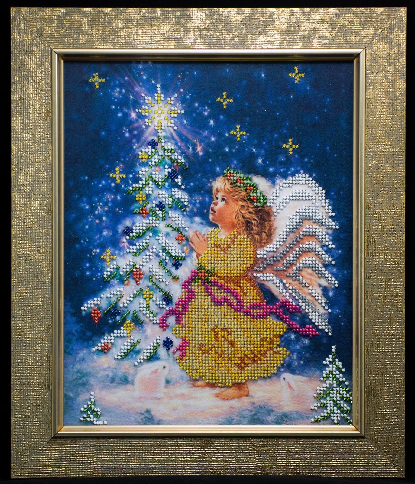"Bead embroidery on art canvas ""Christmas Angel"" – art gift idea!"