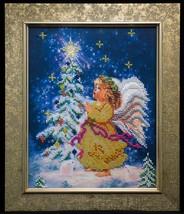 "Bead embroidery on art canvas ""Christmas Angel"" – art gift idea! image 1"