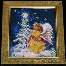 "Bead embroidery on art canvas ""Christmas Angel"" – art gift idea! image 2"