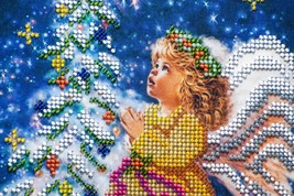 "Bead embroidery on art canvas ""Christmas Angel"" – art gift idea! image 3"