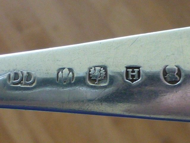 "1826 DD Edinburgh Scotland Sterling Silver Serving Spoon JL 8.5"""