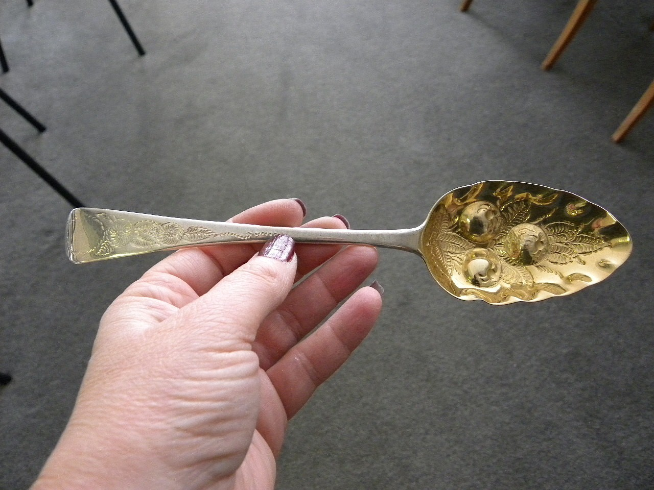 """1817 Alice & George Burrows Berry Fruit Sterling Silver Spoon 9"""""""