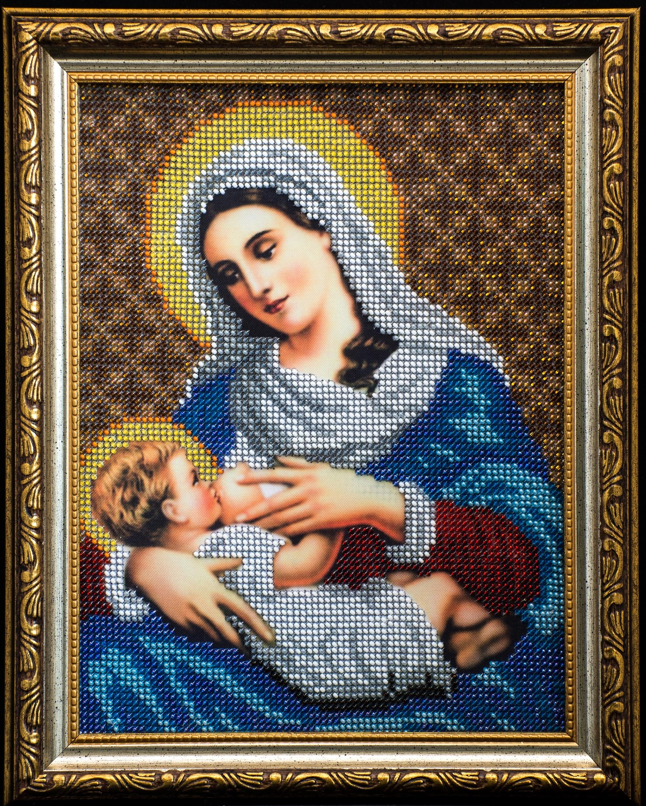 """Icon embroidered with beads """"Virgin Mary nursing Jesus""""– religious gift idea!"""