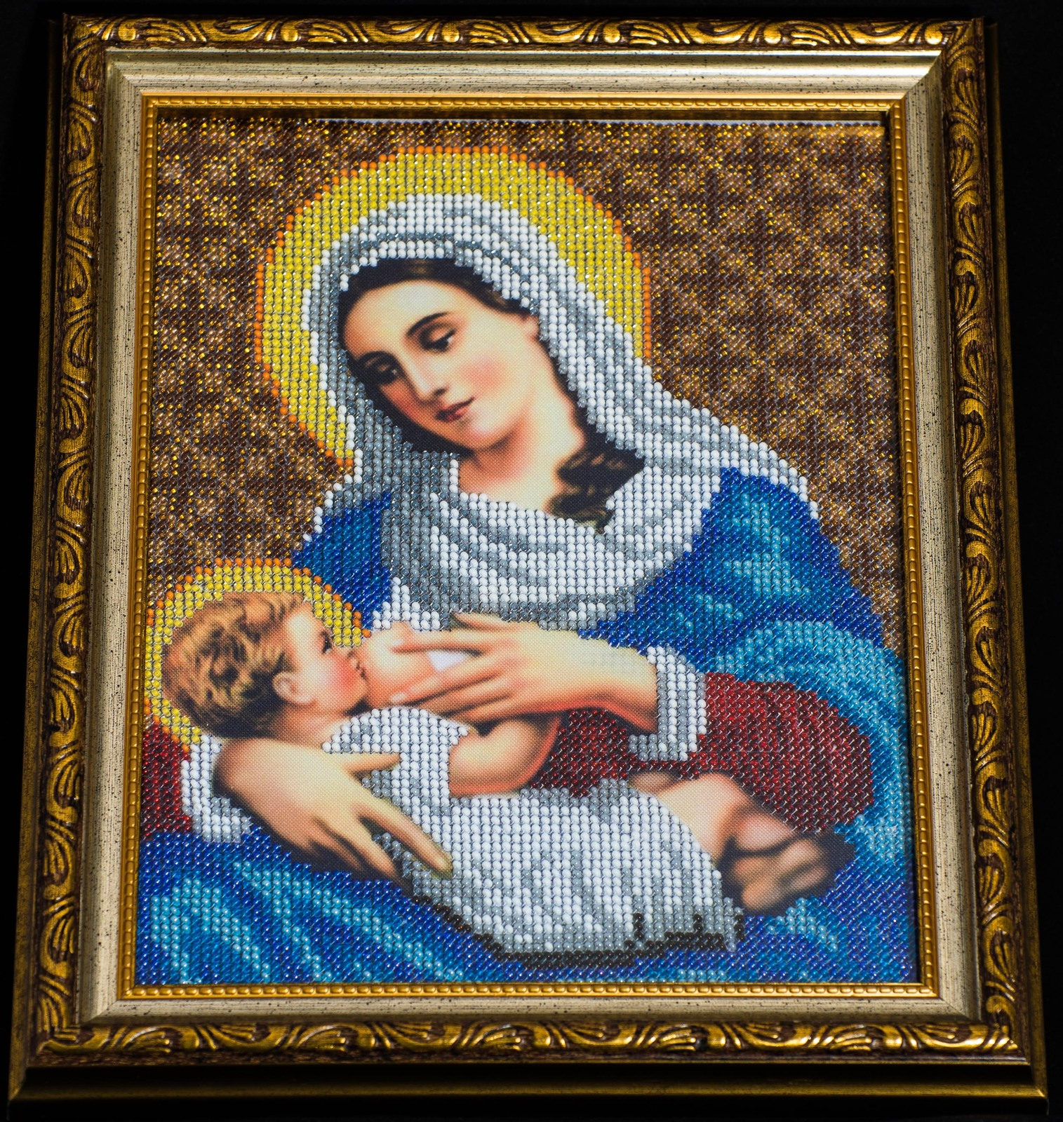 """Icon embroidered with beads """"Virgin Mary nursing Jesus""""– religious gift idea! image 3"""