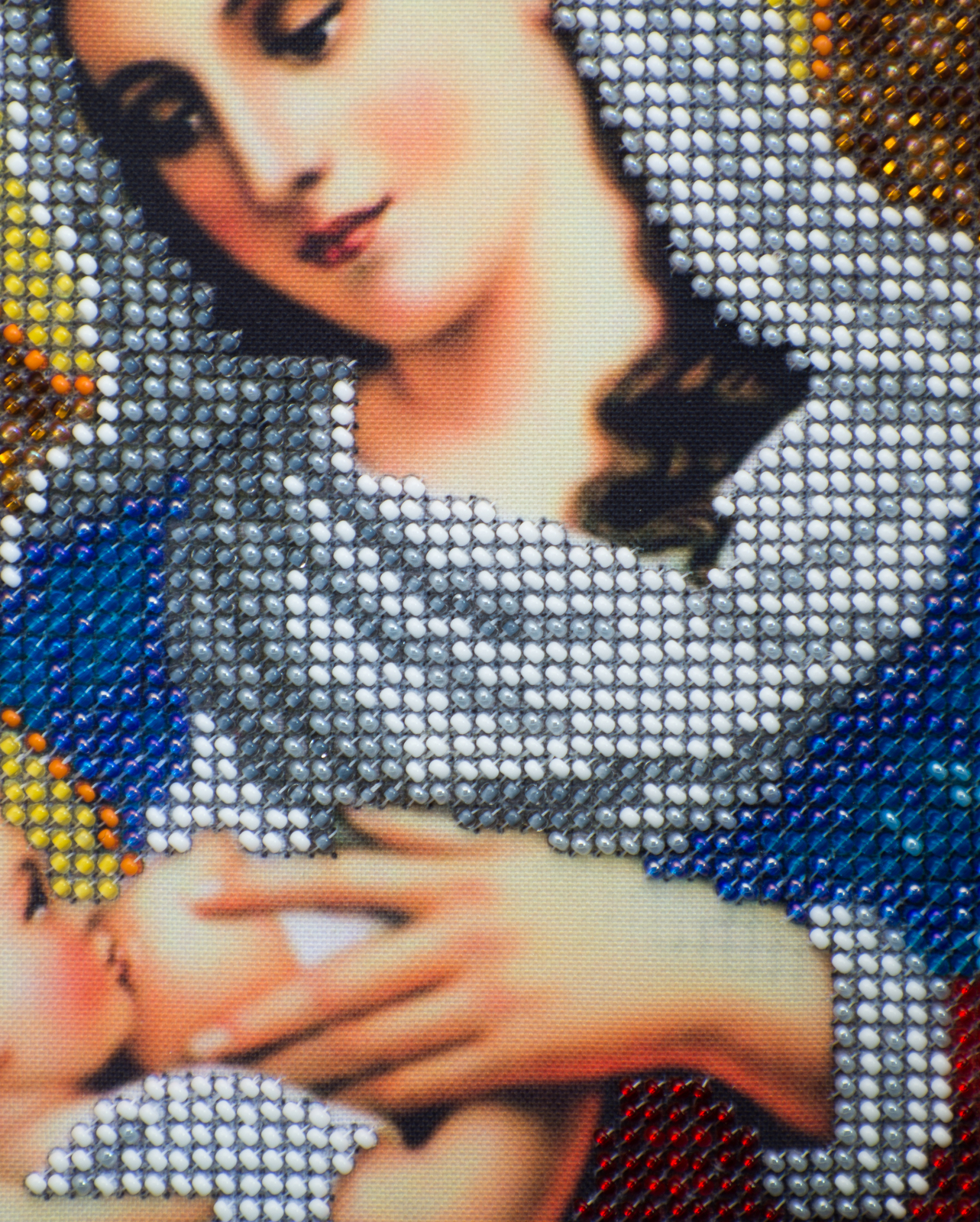 """Icon embroidered with beads """"Virgin Mary nursing Jesus""""– religious gift idea! image 4"""