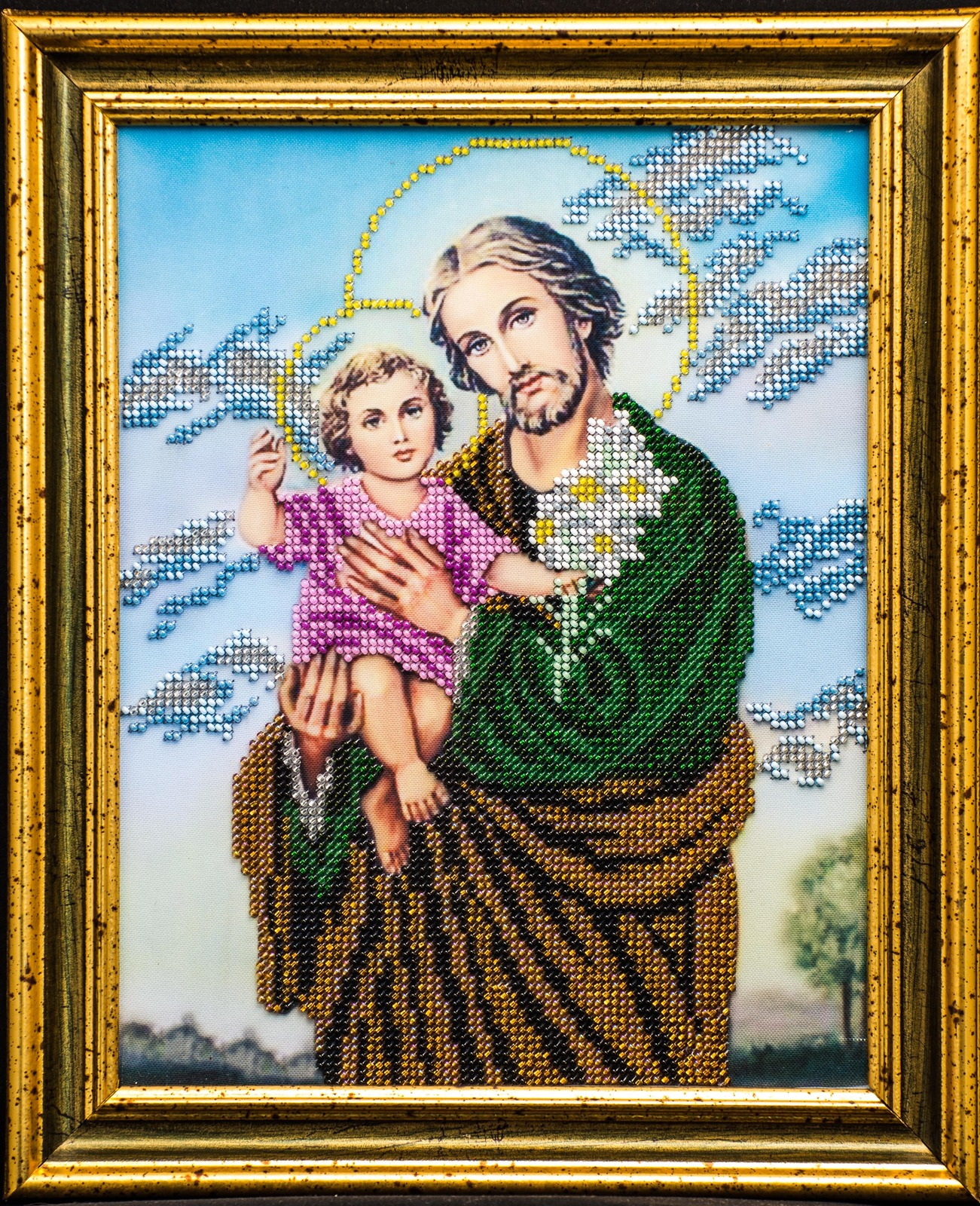 "Icon embroidered with beads ""St. Joseph with Jesus"" - religious gift idea!"