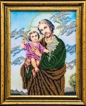 "Icon embroidered with beads ""St. Joseph with Jesus"" - religious gift idea! image 1"