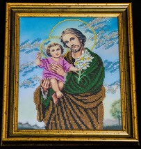 "Icon embroidered with beads ""St. Joseph with Jesus"" - religious gift idea! image 2"