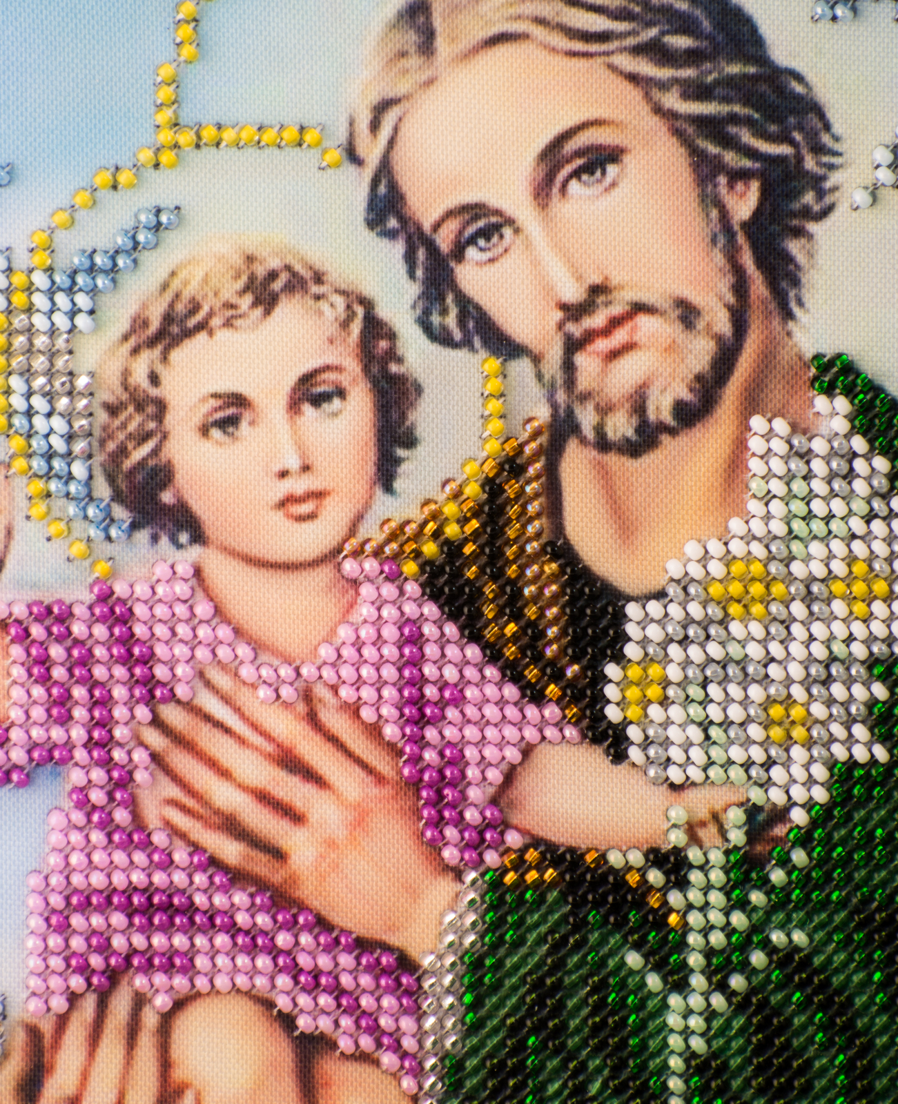 "Icon embroidered with beads ""St. Joseph with Jesus"" - religious gift idea! image 3"