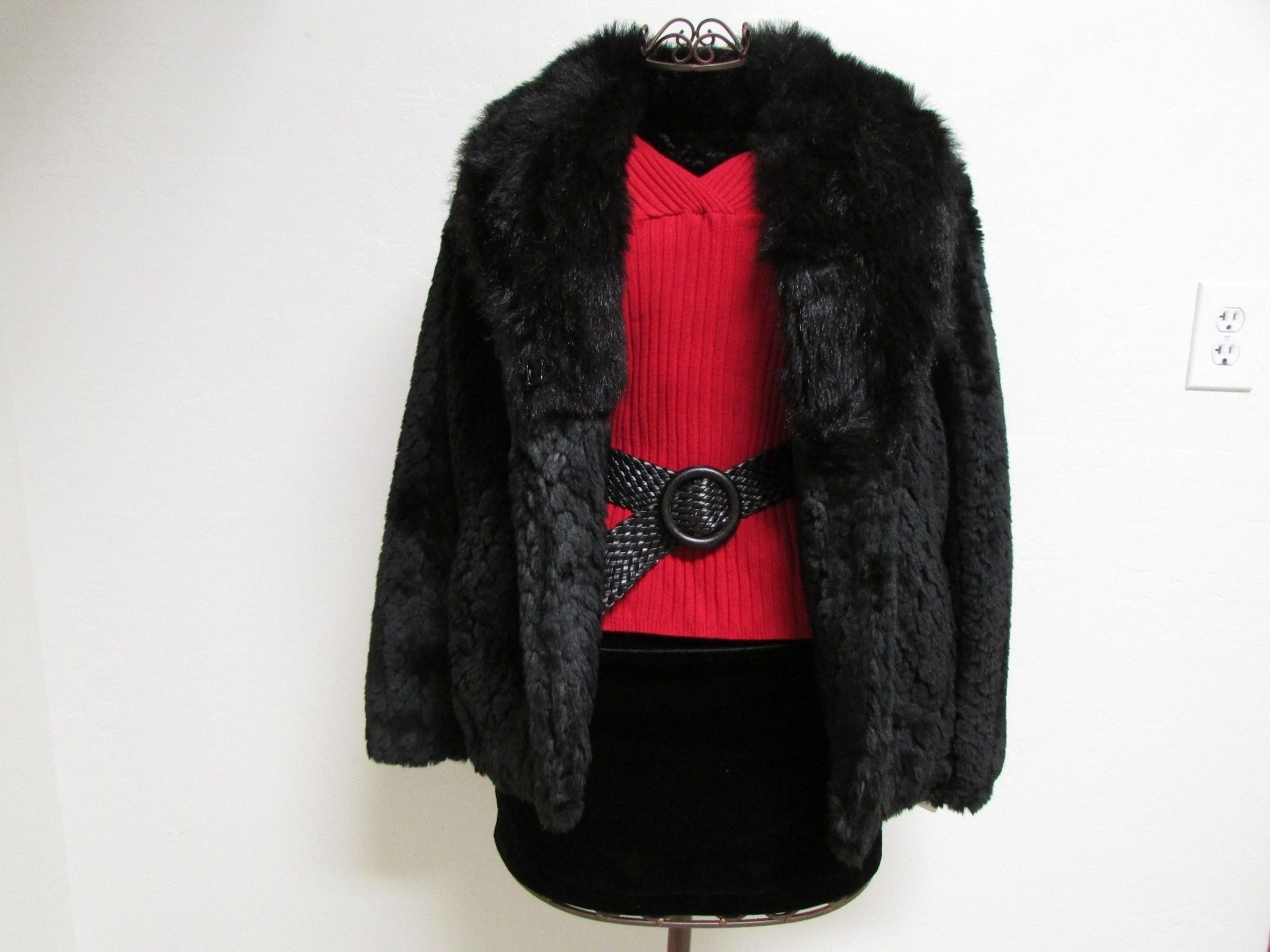 Beautiful Alpine Studio Faux Black Fur Jacket Size M