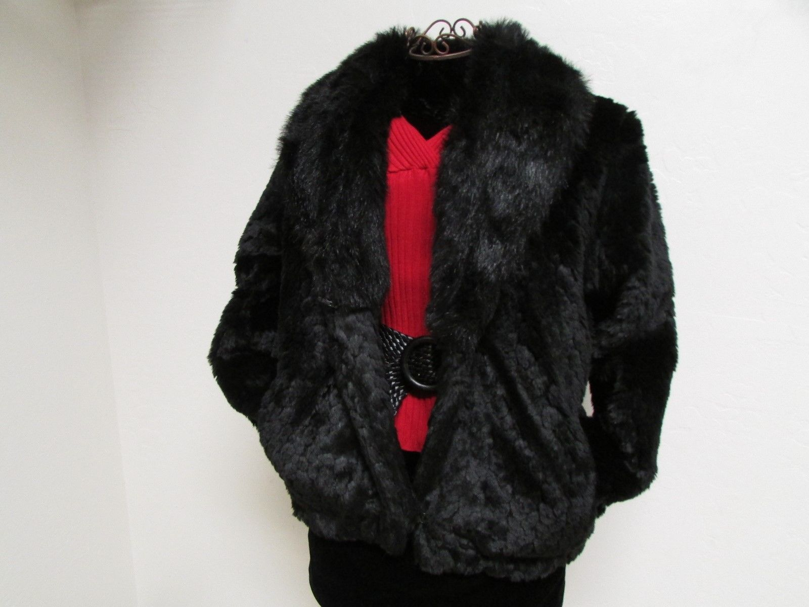 Beautiful Alpine Studio Faux Black Fur Jacket Size M image 4