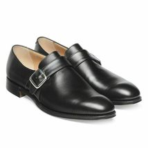 Handmade Men's Black Leather Monk Strap Dress Shoes image 2
