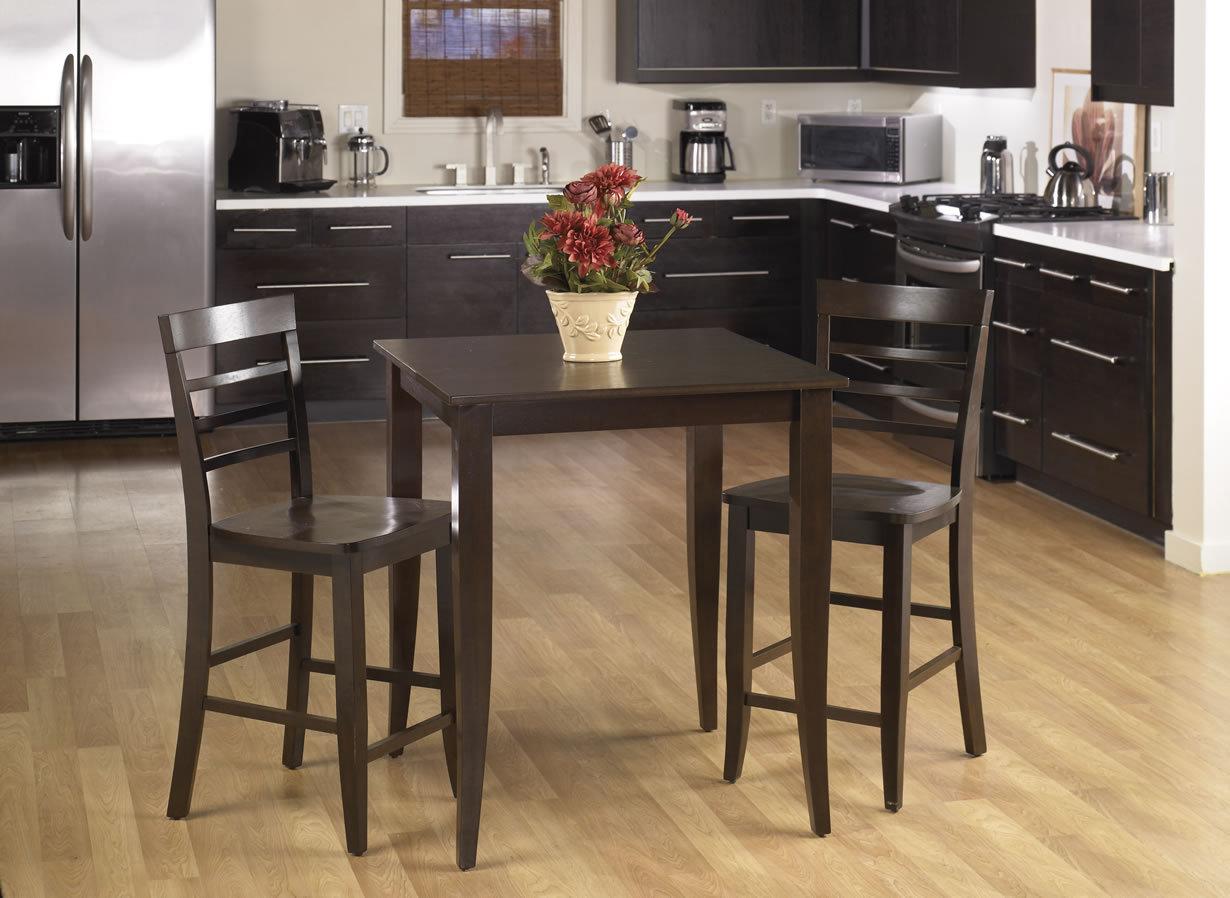 3 pc set espresso wood bar bistro square pub table 2 pub