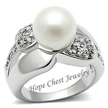 Silver Tone White Pearl Pave Setting Cubic Zirconia Ring - 5,6,8,9,10 image 1