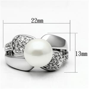 Silver Tone White Pearl Pave Setting Cubic Zirconia Ring - 5,6,8,9,10 image 3