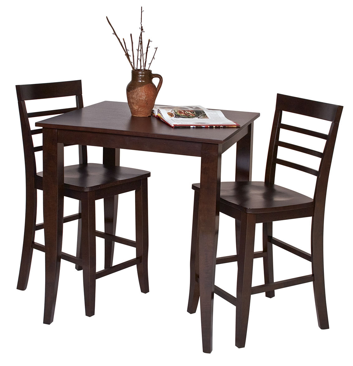 Pc set espresso wood bar bistro square pub table