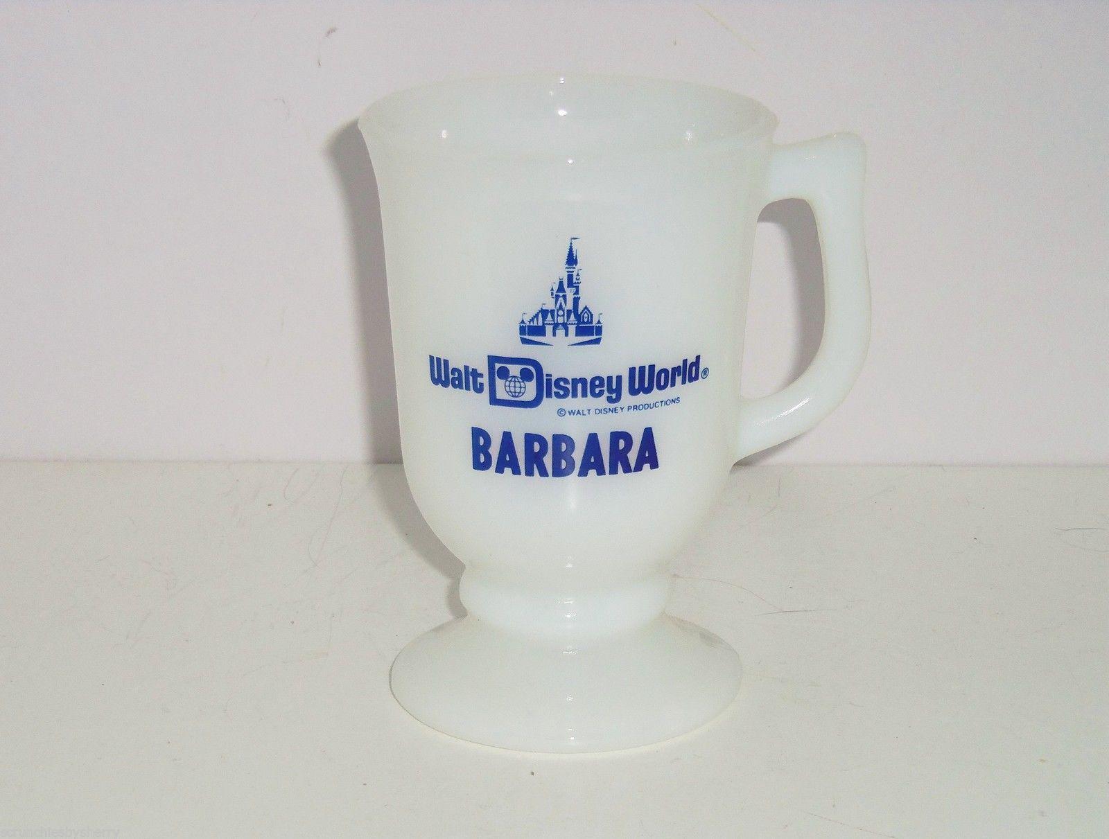 Walt Disney Productions Coffee Mug World White Glass Footed Barbara Vintage