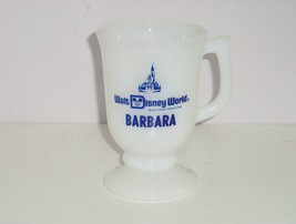 Walt Disney Productions Coffee Mug World White Glass Footed Barbara Vintage image 1