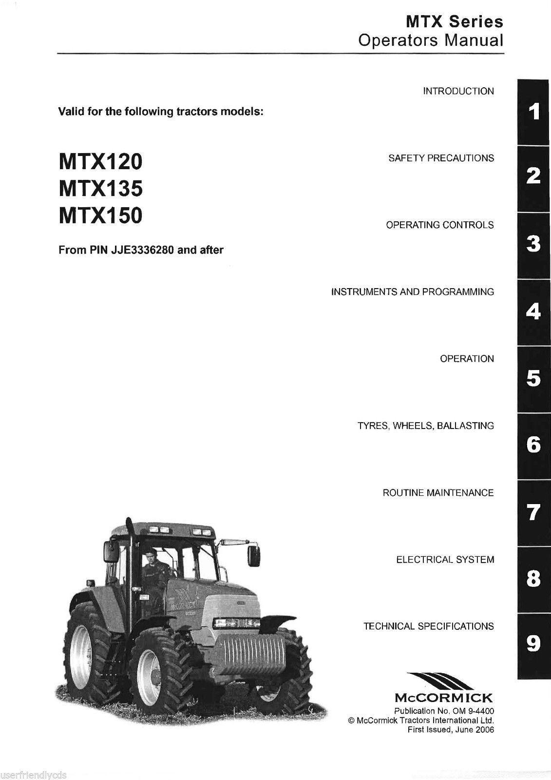 McCormick MTX MTX135 MTX140 MTX150 Tractor Service & Operator Manual -4- MANUALS image 8