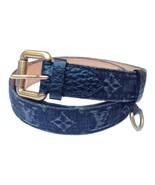 Louis Vuitton Limited Pebbled Leather and Denim Monogram Noir Belt 95/38 - $296.01
