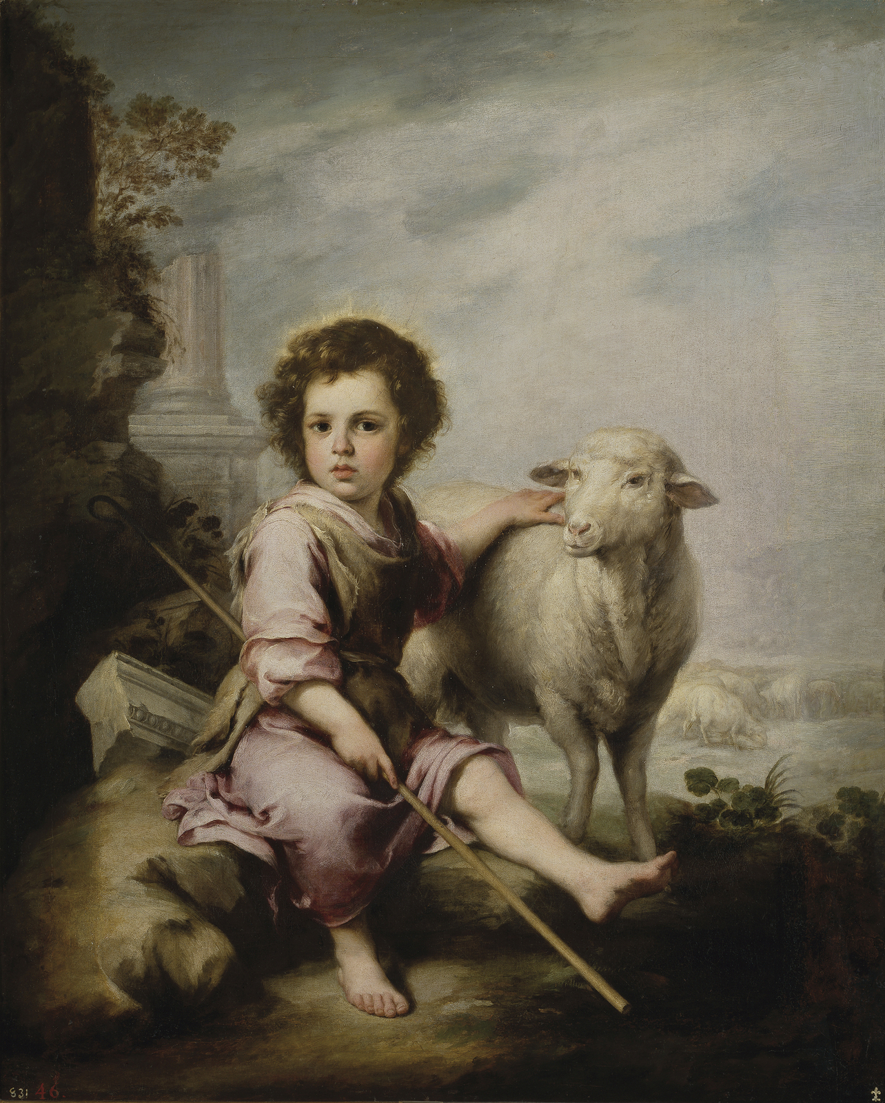 """Bead embroidery on art canvas """"The Divine Shepherd"""" by Murillo (c.1660)"""