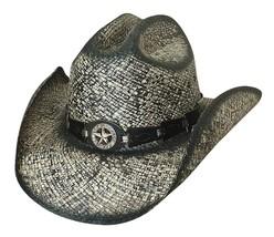Bullhide Star Central Panama Straw Cowboy Hat Star Concho Black Natural image 2
