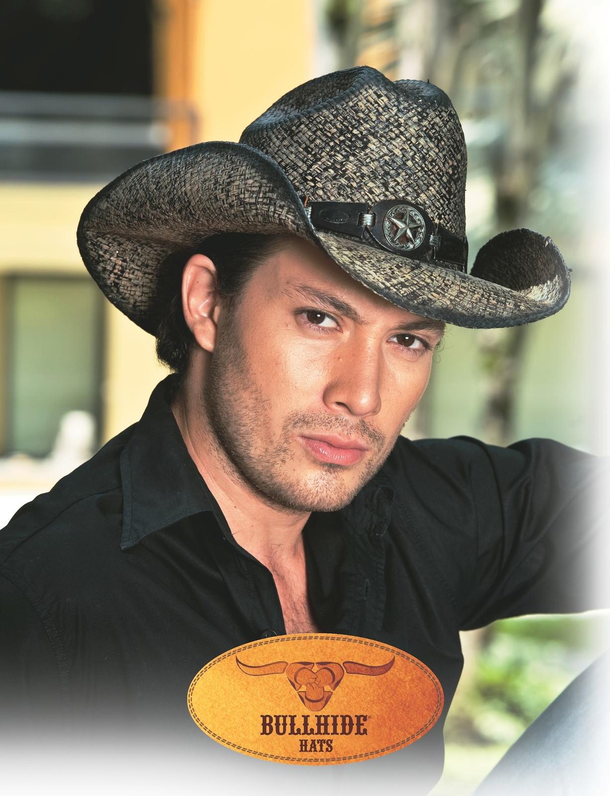 Bullhide Star Central Panama Straw Cowboy Hat Star Concho Black Natural image 4