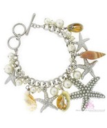 Beauty for Ashes Sea Shell Charms Pearls Silver Starfish Bracelet Ring T... - $18.85