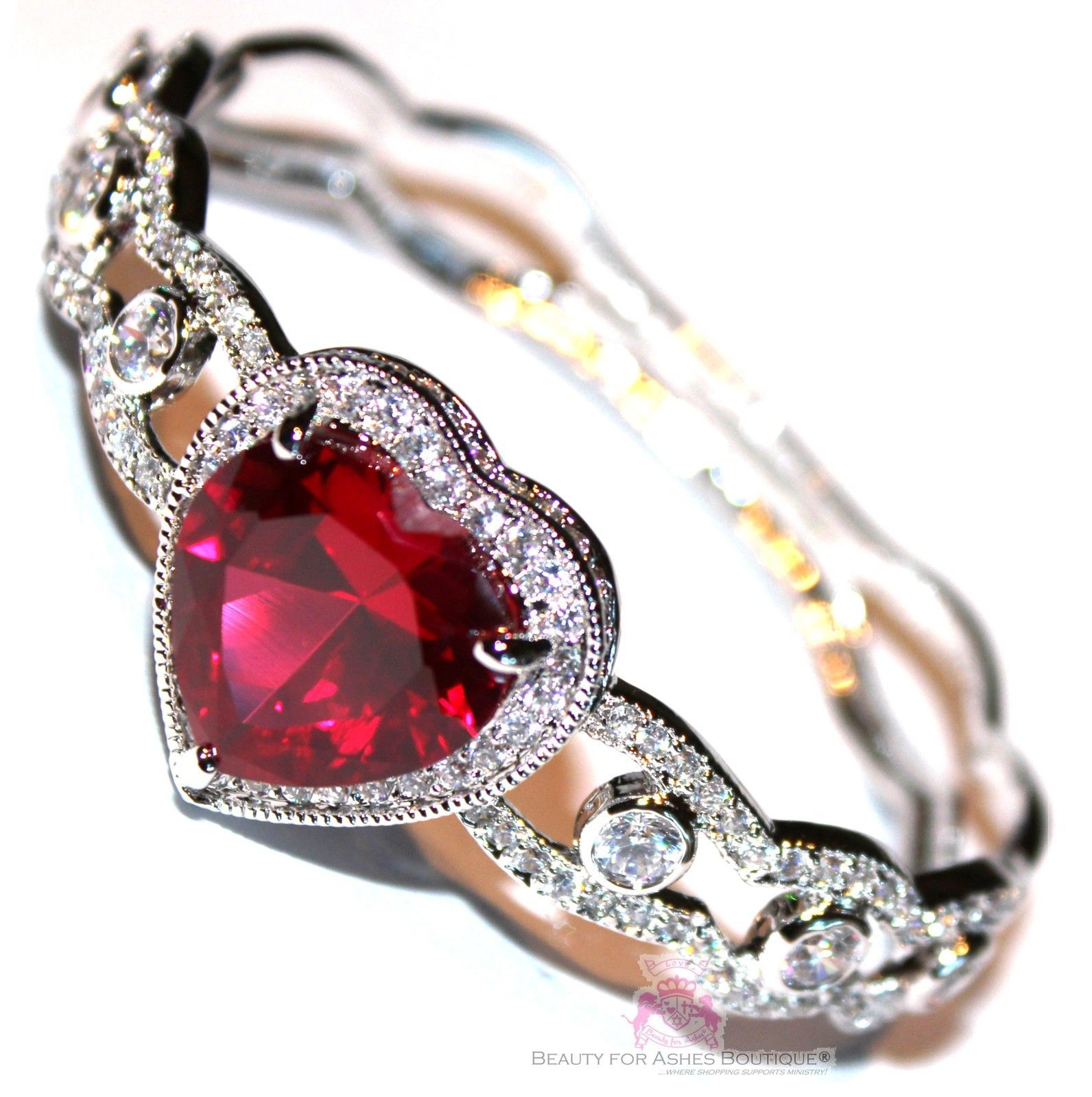 Beauty for Ashes® Ruby Red Heart Valentines Day Gift of Love Cuff CZ Bracelet
