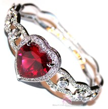 Beauty for Ashes® Ruby Red Heart Valentines Day Gift of Love Cuff CZ Bracelet image 1