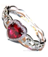 Beauty for Ashes® Ruby Red Heart Valentines Day Gift of Love Cuff CZ Bra... - $285.00