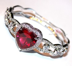 Beauty for Ashes® Ruby Red Heart Valentines Day Gift of Love Cuff CZ Bracelet image 3