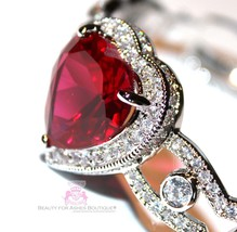 Beauty for Ashes® Ruby Red Heart Valentines Day Gift of Love Cuff CZ Bracelet image 2