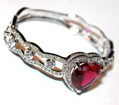 Beauty for Ashes® Ruby Red Heart Valentines Day Gift of Love Cuff CZ Bracelet image 5