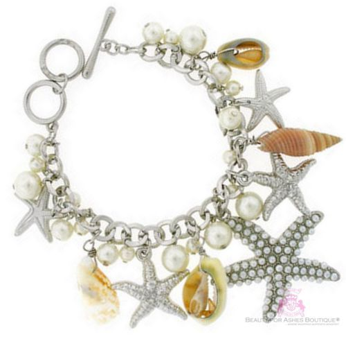 Beauty for Ashes Sea Shell Charms Pearls Silver Starfish Bracelet Ring Toggle image 2