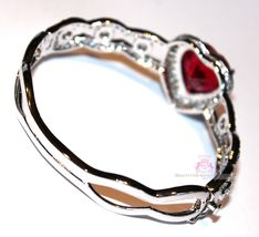 Beauty for Ashes® Ruby Red Heart Valentines Day Gift of Love Cuff CZ Bracelet image 7