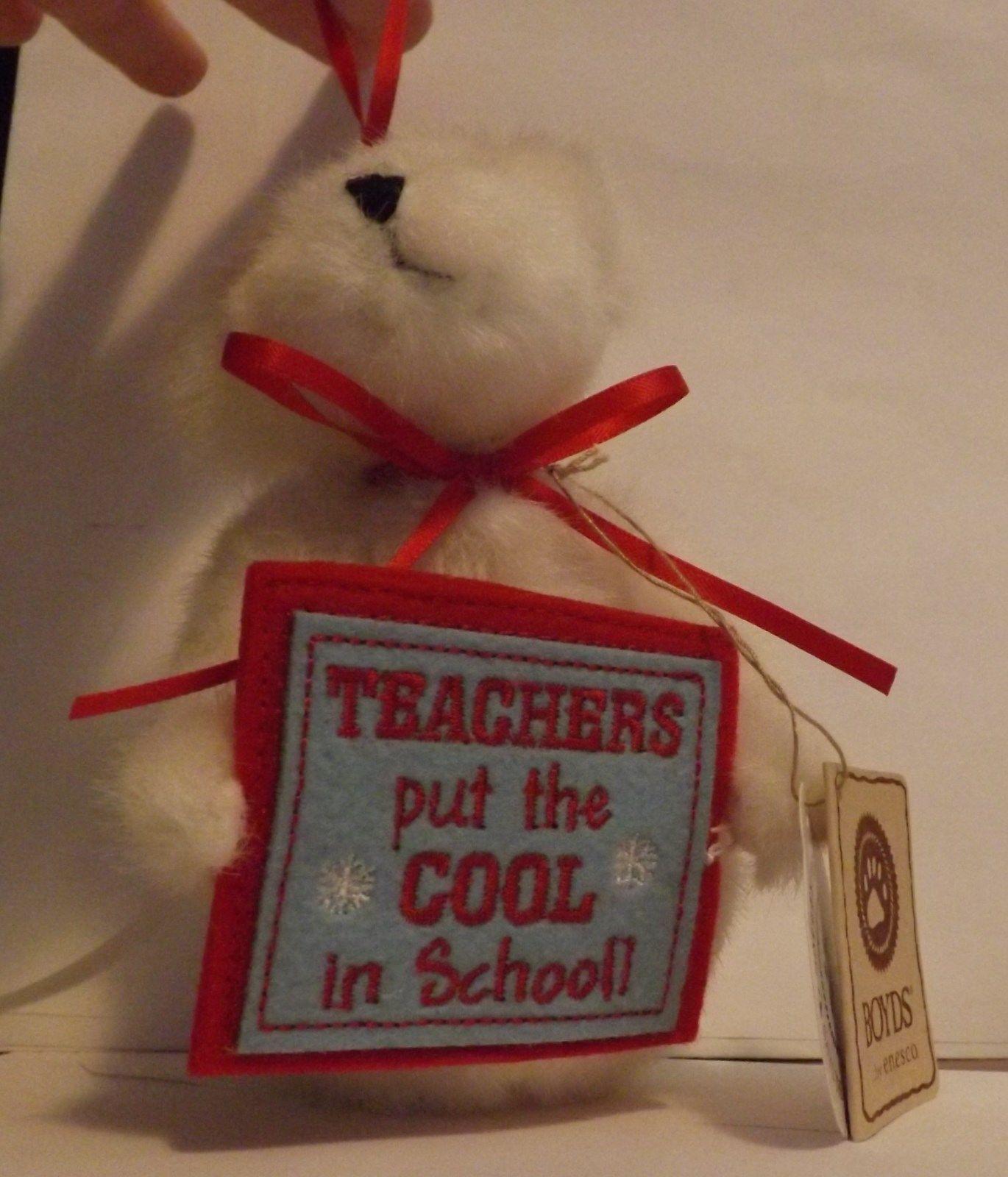Boyds Bear Plush Ornament Chilly Teachers put the Cool in School