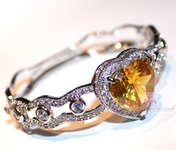 Beauty for Ashes® Canary Yellow Heart Simulated Diamand Gala Cuff CZ Bracelet image 2