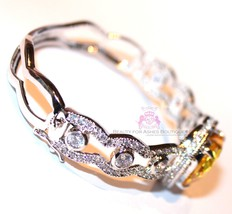 Beauty for Ashes® Canary Yellow Heart Simulated Diamand Gala Cuff CZ Bracelet image 3