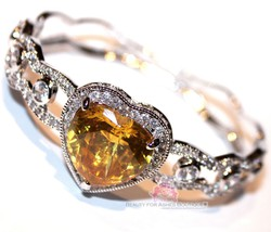 Beauty for Ashes® Canary Yellow Heart Simulated Diamand Gala Cuff CZ Bracelet image 1