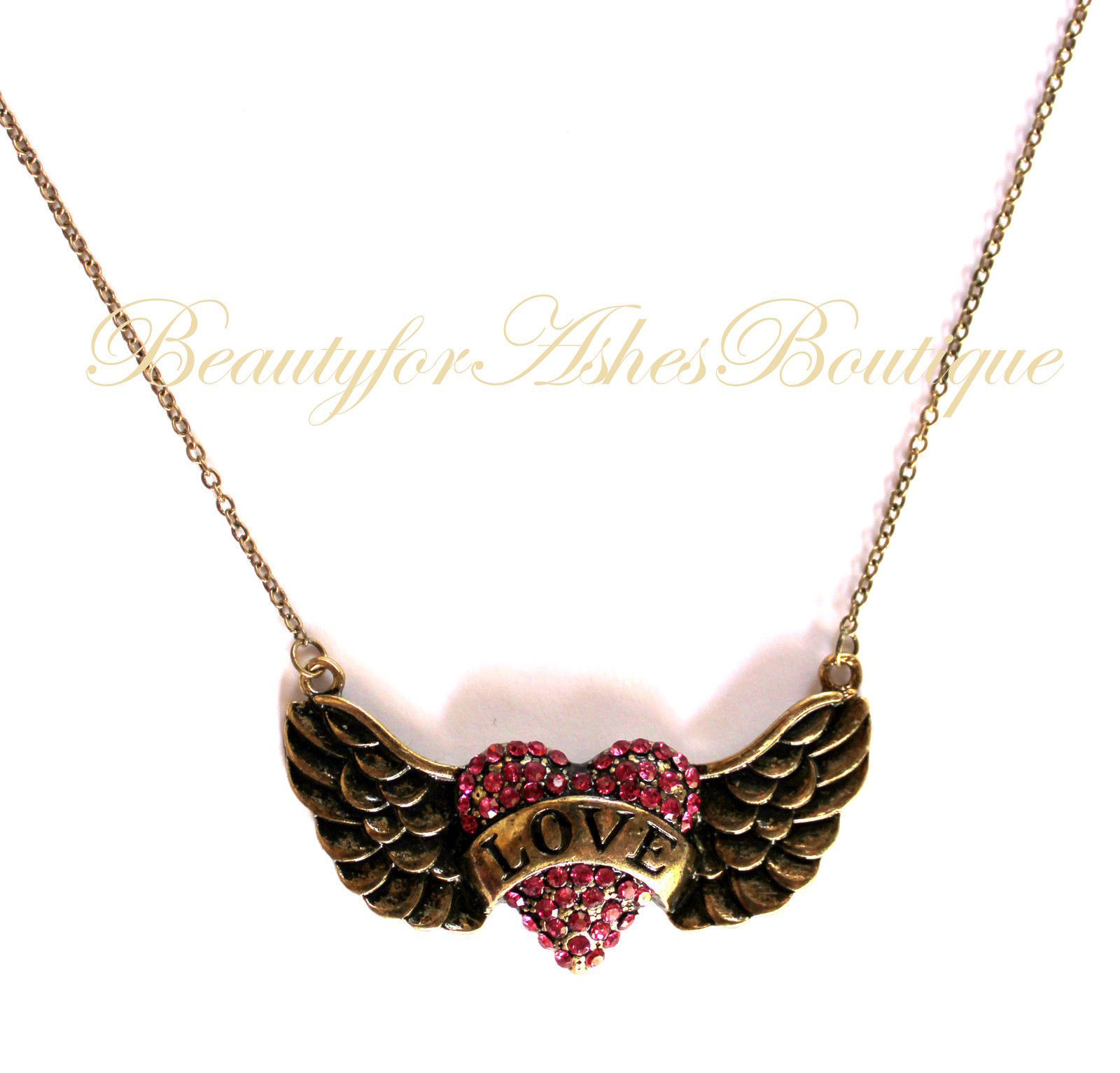 BEAUTY FOR ASHES HIS BANNER OVER ME IS LOVE HEART ANGEL WING CRYSTAL NECKLACE image 2