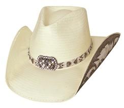 Bullhide Cowgirl Fantasy Shantung Panama Straw Hat Concho Natural Black  - £65.33 GBP