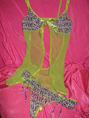 Milili zebra pole stripper dancer baby doll panties set M